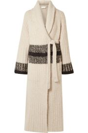Chlo   - Striped ribbed wool-blend cardigan at Net A Porter
