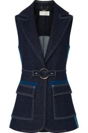 Chlo   - Two-tone denim vest at Net A Porter