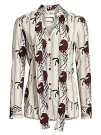 Chlo   - Viscose Jersey Horse Print Button Blouse at Saks Fifth Avenue