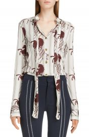 Chlo   Horse Print Tie Neck Blouse   Nordstrom at Nordstrom