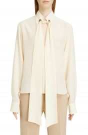 Chlo   Ring Detail Tie Neck Silk Cr  pe de Chine Blouse   Nordstrom at Nordstrom
