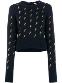 Chlo   horse embroidered jumper at Farfetch