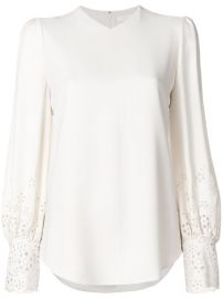 Chlo  233  Laser Cut Sleeve Blouse  1 595 - Shop AW17 Online - Fast Delivery  Price at Farfetch