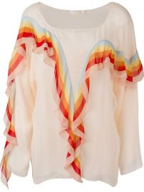 Chlo  233  Rainbow Ruffle Trim Blouse at Farfetch