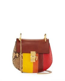 Chloe Drew Small Python Shoulder Bag  Multi at Neiman Marcus