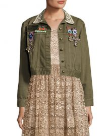 Chloe Embroidered Cropped Army Jacket at Last Call