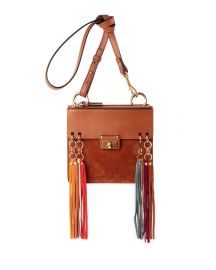 Chloe Jane Tassel-Trim Leather Crossbody Bag  Caramel at Neiman Marcus