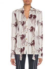 Chloe Long-Sleeve Button-Front Horse-Print Viscose Jersey Blouse at Neiman Marcus