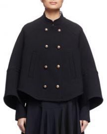Chloe Mandarin-Collar Double-Breasted Topper Coat Black at Neiman Marcus