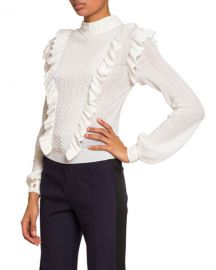 Chloe Ruffle-Front High-Neck Sweater at Neiman Marcus