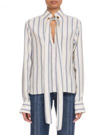 Chloe Tie-Neck Keyhole-Front Long-Sleeve Striped Silk Blouse at Neiman Marcus