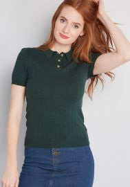 Chosen Polo Short Sleeve Sweater by Modcloth at Modcloth