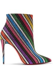 Christian Louboutin - So Kate 100 striped glittered leather ankle boots at Net A Porter