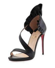 Christian Louboutin Col Ankle Ruffle Red Sole Sandal  Black   Neiman at Neiman Marcus