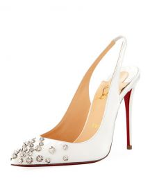 Christian Louboutin Drama Sling 100mm Spike Leather Red Sole Pumps at Neiman Marcus