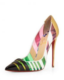 Christian Louboutin Front Double Multicolor PVC and Leather Red Sole Pump GreenPinkMulti at Neiman Marcus