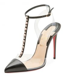 Christian Louboutin Nosy Spiked T-Strap Red Sole Pump   Neiman at Neiman Marcus