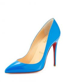 Christian Louboutin Pigalle Follies Point-Toe Red Sole Pump Blue at Neiman Marcus