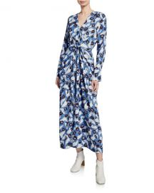Christian Wijnants Darka Tie-Front Floral Long-Sleeve Dress at Neiman Marcus