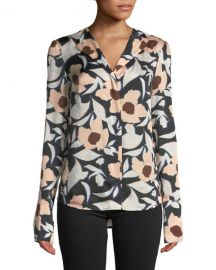Christian Wijnants Tarani Floral Silk Charmeuse Button-Down Top at Neiman Marcus