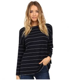 Christin Michaels Angelie Boat Neck Sweater Navy White at Zappos