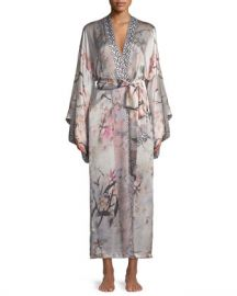 Christine Designs Nightingale Long Floral-Print Silk Robe at Neiman Marcus