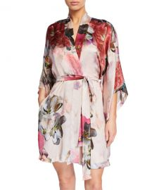 Christine Lingerie Camille Floral-Print Silk Short Robe at Neiman Marcus
