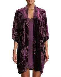 Christine Lingerie Faberge Floral Velvet Short Robe at Neiman Marcus