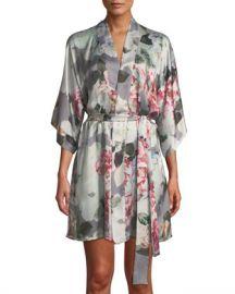 Christine Lingerie Jolie Floral-Print Silk Short Robe at Neiman Marcus