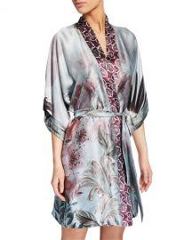 Christine Lingerie Solitude Floral-Print Silk Short Robe at Neiman Marcus