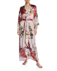 Christine LingerieCamille Floral-Print Long Silk Robe at Neiman Marcus