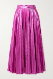 Christopher Kane - Pleated crinkled-lam   maxi skirt at Net A Porter