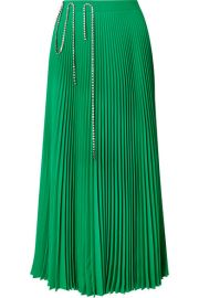 Christopher Kane - Squiggle crystal-embellished pleated crepe de chine midi skirt at Net A Porter