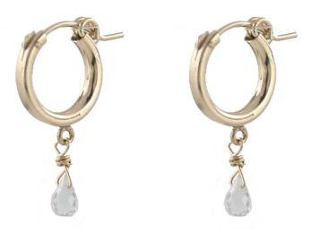 Chubby Hoop Earrings with Gems at Peggy Li