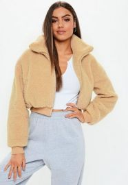 Chunky Crop Zip Through Teddy Jacket by Missguided at Missguided