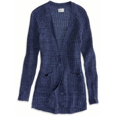 Chunky waffle knit cardigan in blue at American Eagle