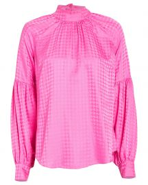 Cicely Houndstooth Jacquard Silk Blouse at Intermix