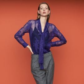 Cilette Lavalier Shirt in Lace at Maje