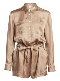 Cinq    Sept - Giles Long-Sleeve Drawstring Romper at Saks Off 5th