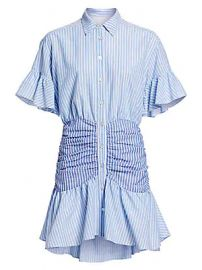 Cinq    Sept - Asher Striped Ruched Shirtdress at Saks Fifth Avenue