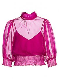 Cinq    Sept - Cleo Silk Organza Blouse at Saks Fifth Avenue