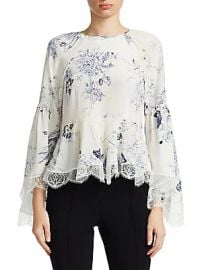 Cinq    Sept - Inky Floral Avalon Silk Peplum Top at Saks Fifth Avenue