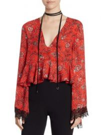 Cinq    Sept - Jemma Wales Silk Choker Crop Top at Saks Off 5th