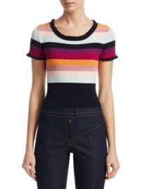 Cinq    Sept - Nicolette Stripe Ribbed Top at Saks Fifth Avenue