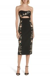 Cinq    Sept Clemence Embroidered Strapless Dress   Nordstrom at Nordstrom