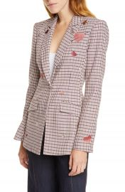 Cinq    Sept Estelle Check Embroidered Blazer   Nordstrom at Nordstrom