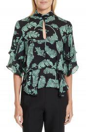Cinq    Sept Ileana Palm Print Silk Top at Nordstrom