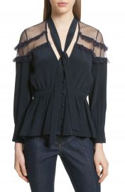 Cinq    Sept Peyton Tie Neck Silk Blouse at Nordstrom