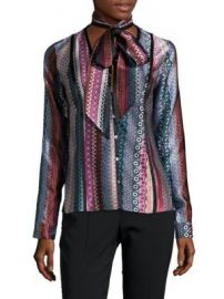 Cinq   Sept - Embry Printed Silk Shirt at Saks Off 5th