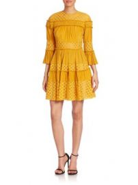 Cinq   Sept - Octavia Ruffle Paneled Fit- -Flare Dress at Saks Off 5th